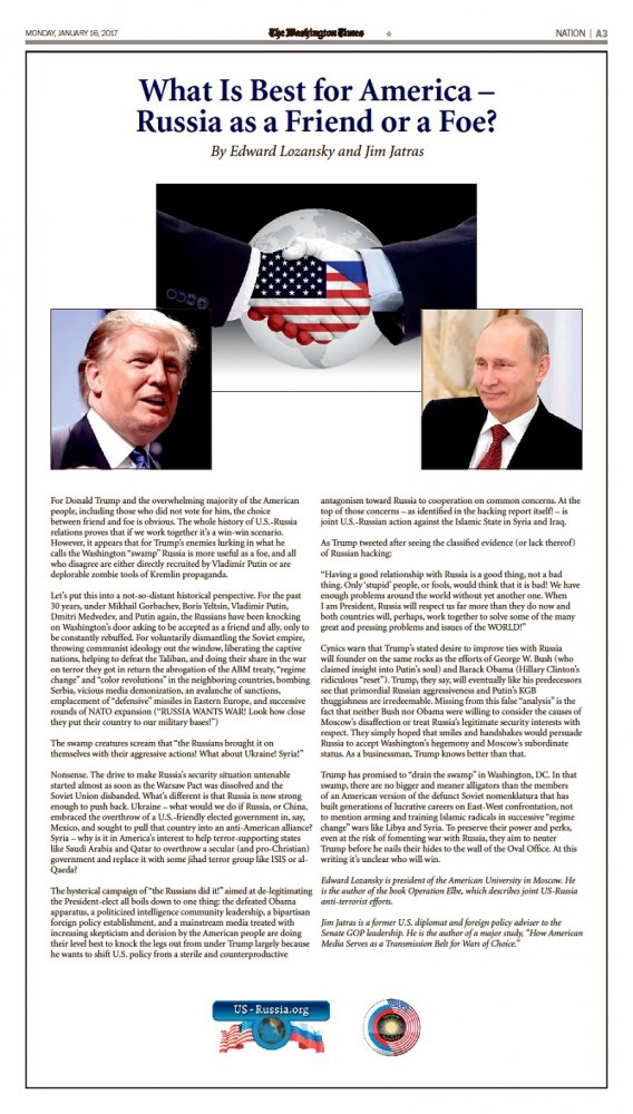 What Is Best for America - Russia as a Friend or a Foe?