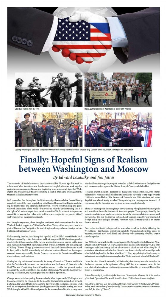Finally: Hopeful Signs of Realism between Washington and Moscow