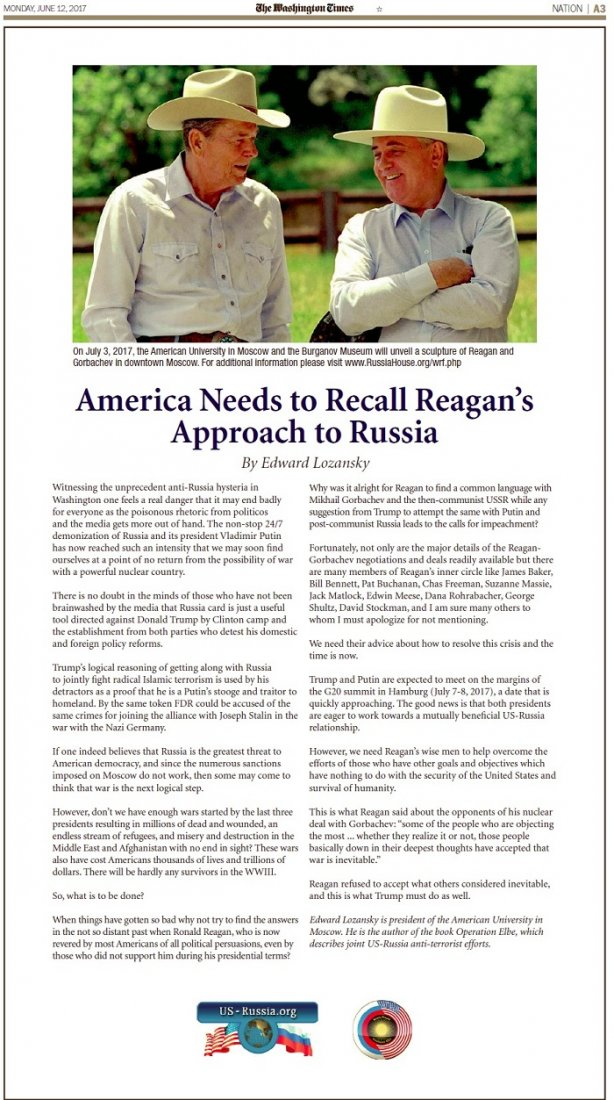America Needs to Recall Reagan's Approach to Russia